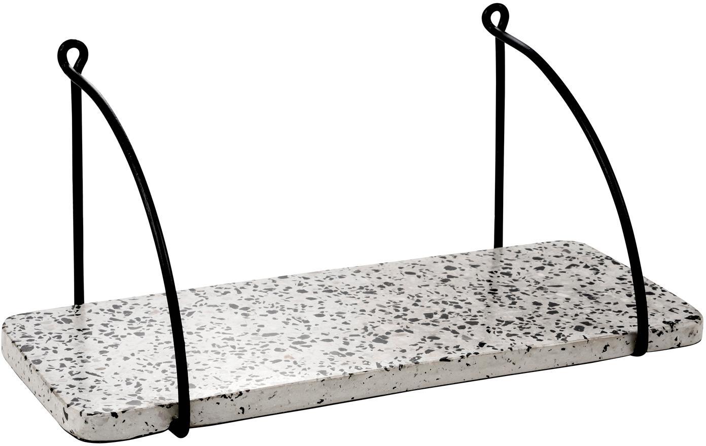 Terrazzo wandplank Porter, Plank: terrazzo, Houder: gelakt metaal, Wit, grijstinten, zwart, 40 x 18 cm