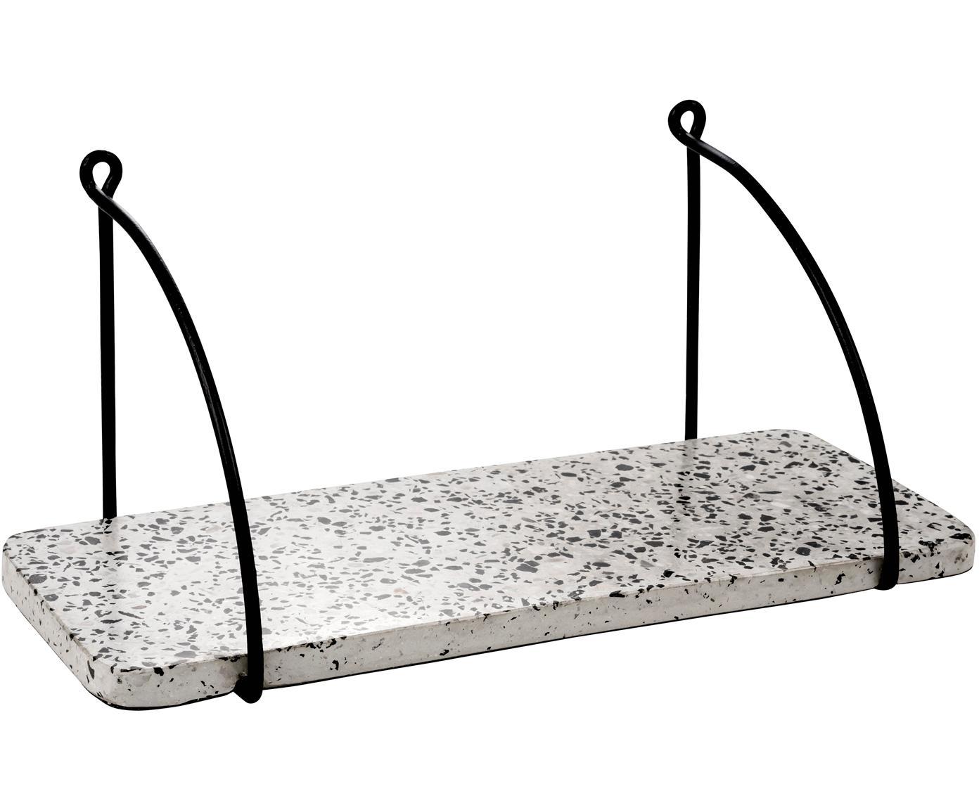 Terrazzo-Wandregal Porter, Regalbrett: Terrazzo, Halterung: Metall, lackiert, Weiss, Grautöne, Schwarz, 40 x 18 cm