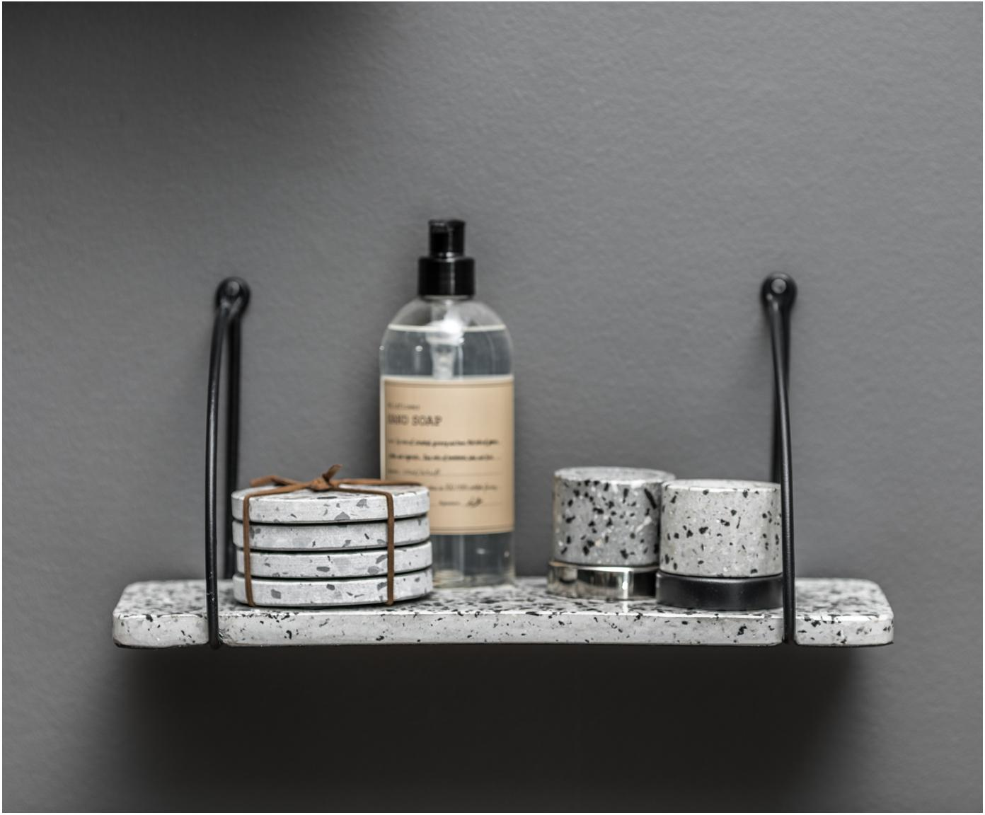 Estante de pared de terrazo Porter, Estante: terrazo, Blanco, gris, negro, An 40 x Al 18 cm