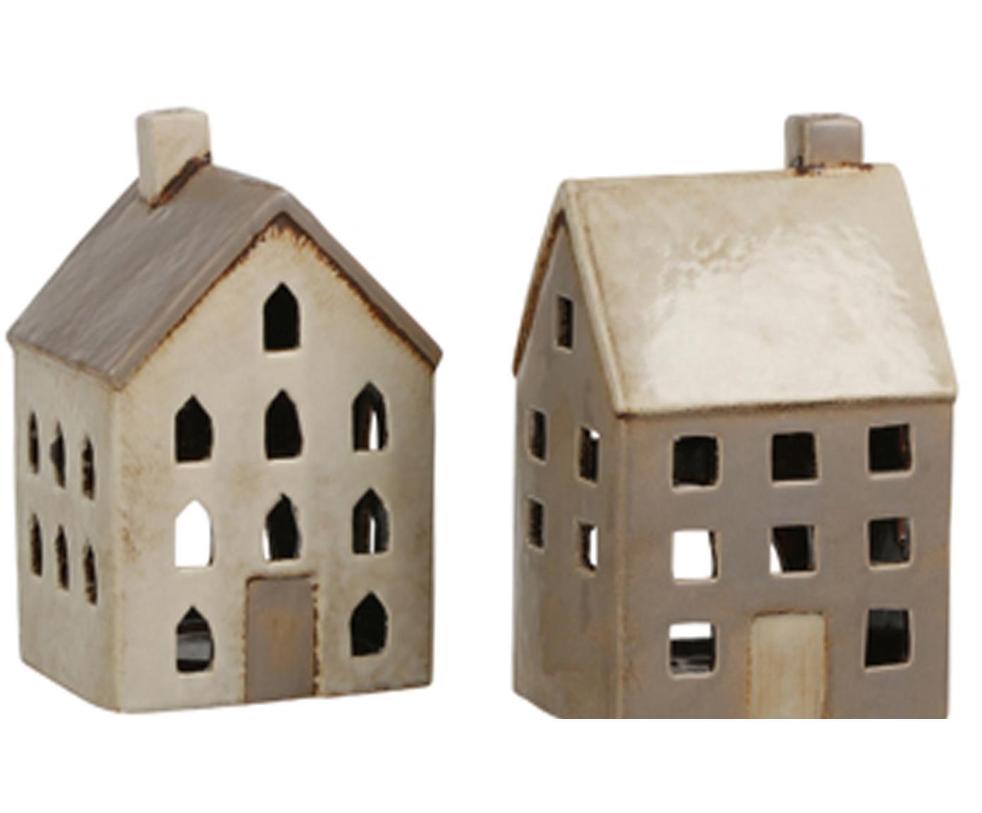 Set de portavelas Houses, 2pzas., Cerámica, Beige, gris pardo, Al 215 cm