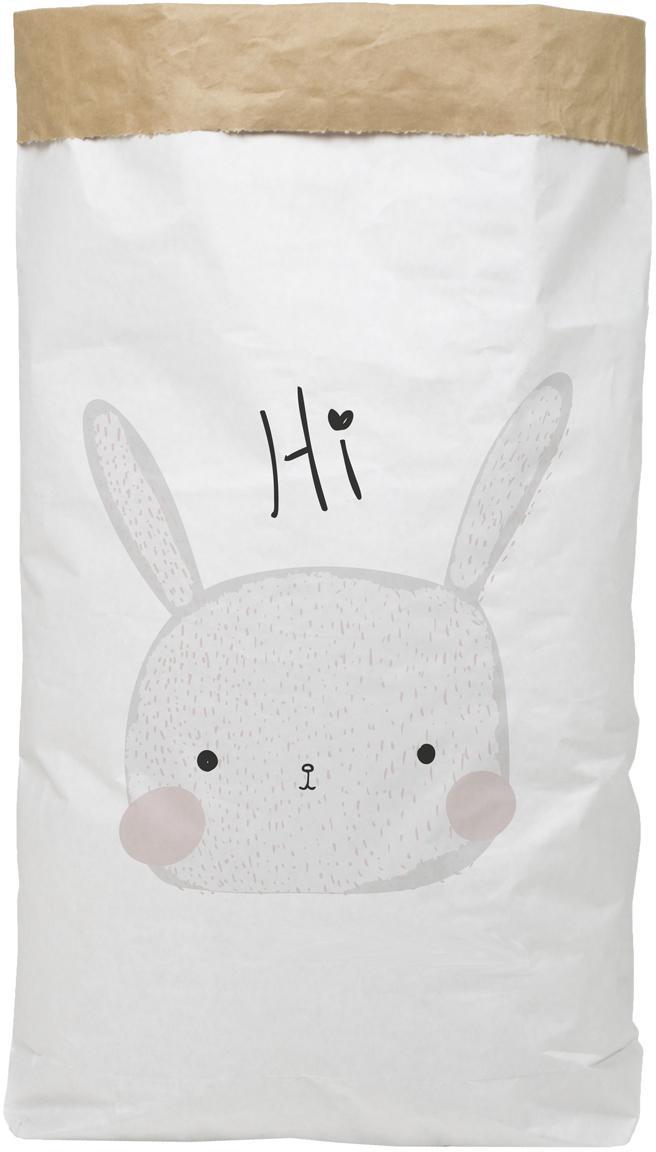 Aufbewahrungstüte Rabbit, Recyceltes Papier, Weiß, Schwarz, Grau, Rosa, 60 x 90 cm