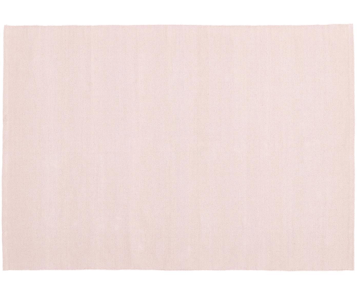 Ręcznie tkany dywan z bawełny Agneta, Bawełna, Blady różowy, S 200 x D 300 cm
