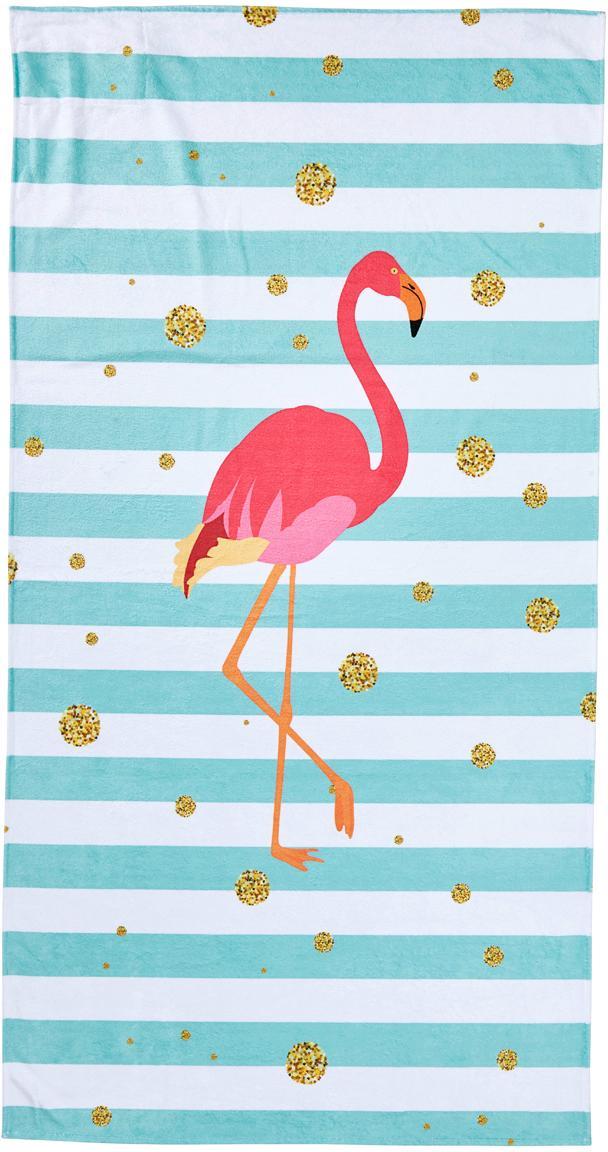 Strandtuch Case Flamingo, Rückseite: Frottier, Blau, Weiss, Pink, Goldfarben, 90 x 180 cm