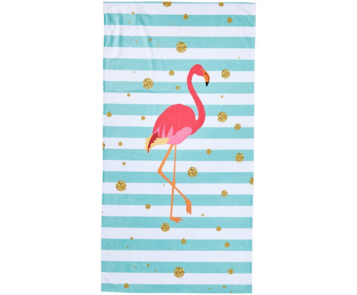 Strandlaken Case Flamingo, Onderzijde: badstof, Blauw, wit, roze, goudkleurig, 90 x 180 cm