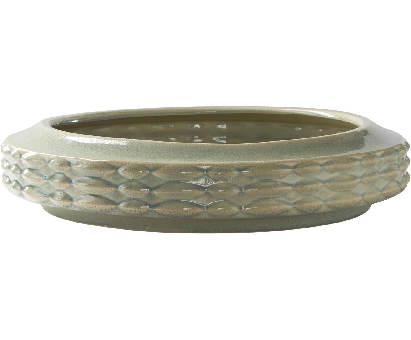 Handgefertigte Schale Lovis, Ø 54cm, Keramik, glasiert, Grün, Ø 54 x H 11 cm