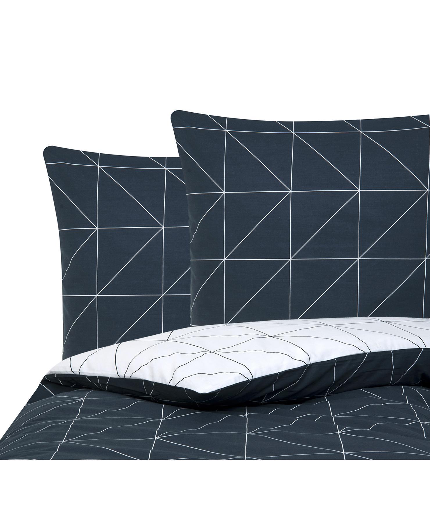 Baumwoll-Wendebettwäsche Marla mit grafischem Muster, Webart: Renforcé Fadendichte 144 , Navyblau, Weiss, 200 x 200 cm + 2 Kissen 80 x 80 cm