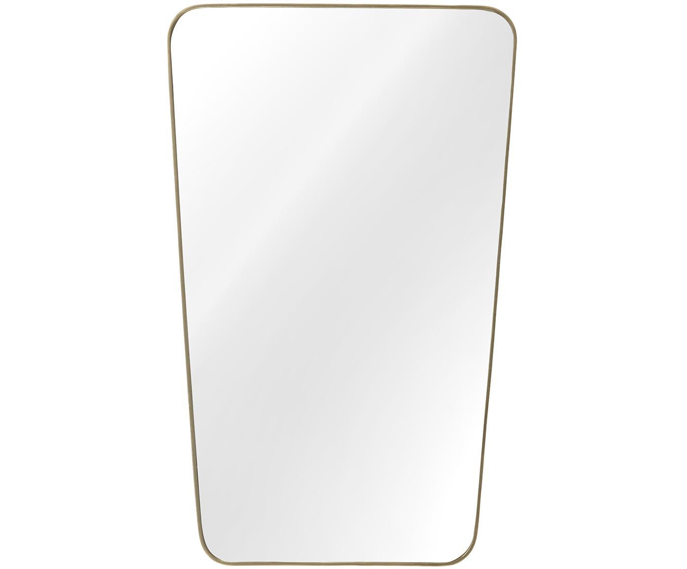 Eckiger Wandspiegel Adrienne mit gebürstetem Rahmen, Rahmen: Metall, vermessingt, Spiegelfläche: Spiegelglas, Rückseite: Mitteldichte Holzfaserpla, Messing, 50 x 80 cm