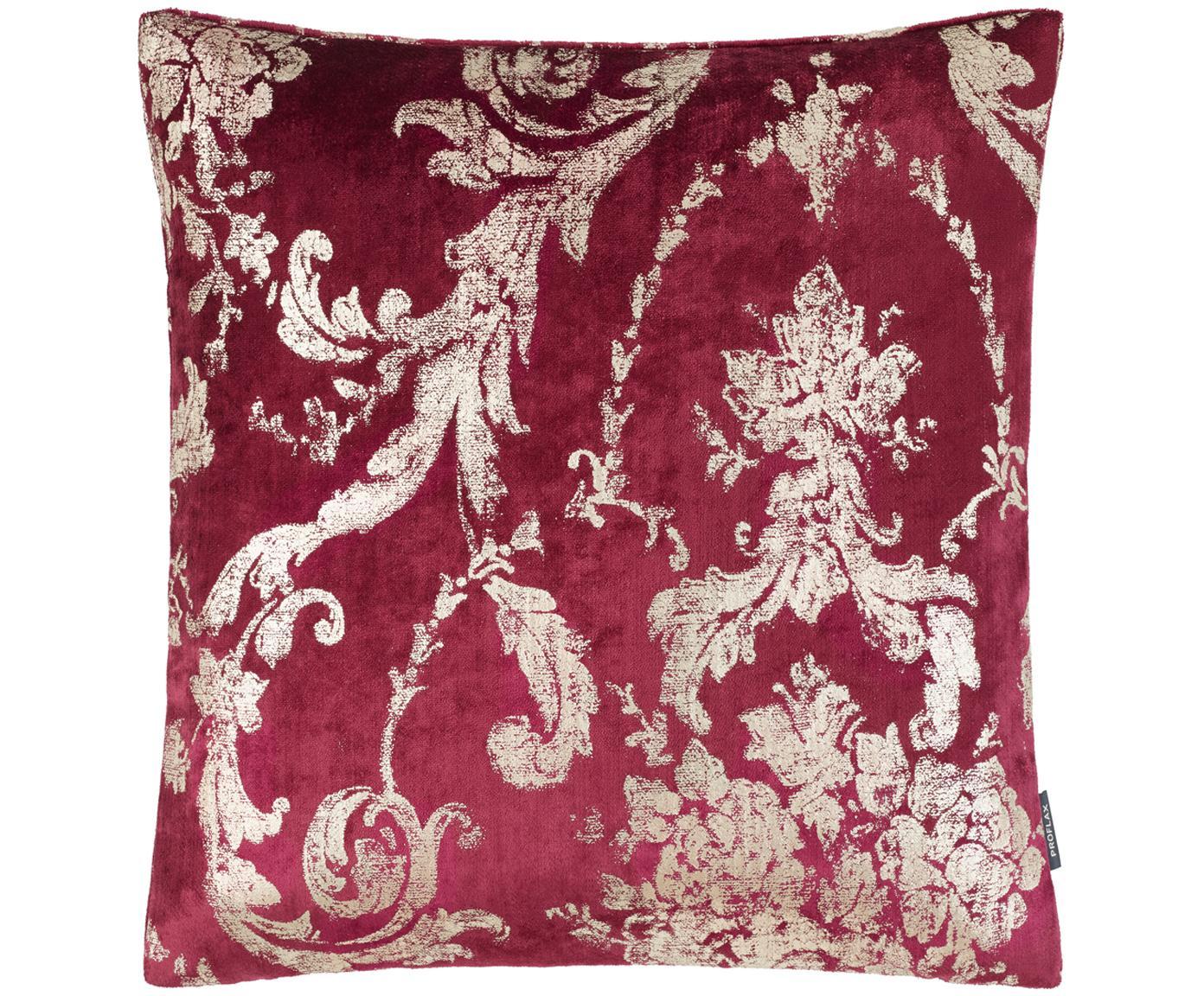 Federa arredo in velluto Ruben, Velluto di poliestere, Rosso scuro, beige, Larg. 40 x Lung. 40 cm