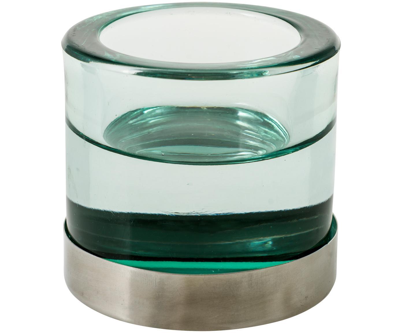 Teelichthalter Blanka, Glas, Metall, Grün, Silberfarben, Ø 6 x H 6 cm