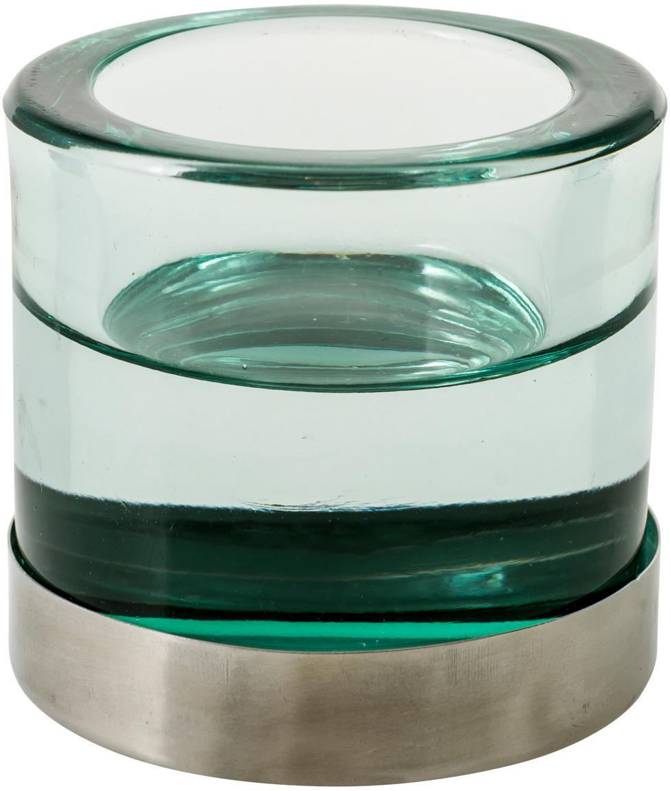 Waxinelichthouder Blanka, Glas, metaal, Groen, zilverkleurig, Ø 6 x H 6 cm