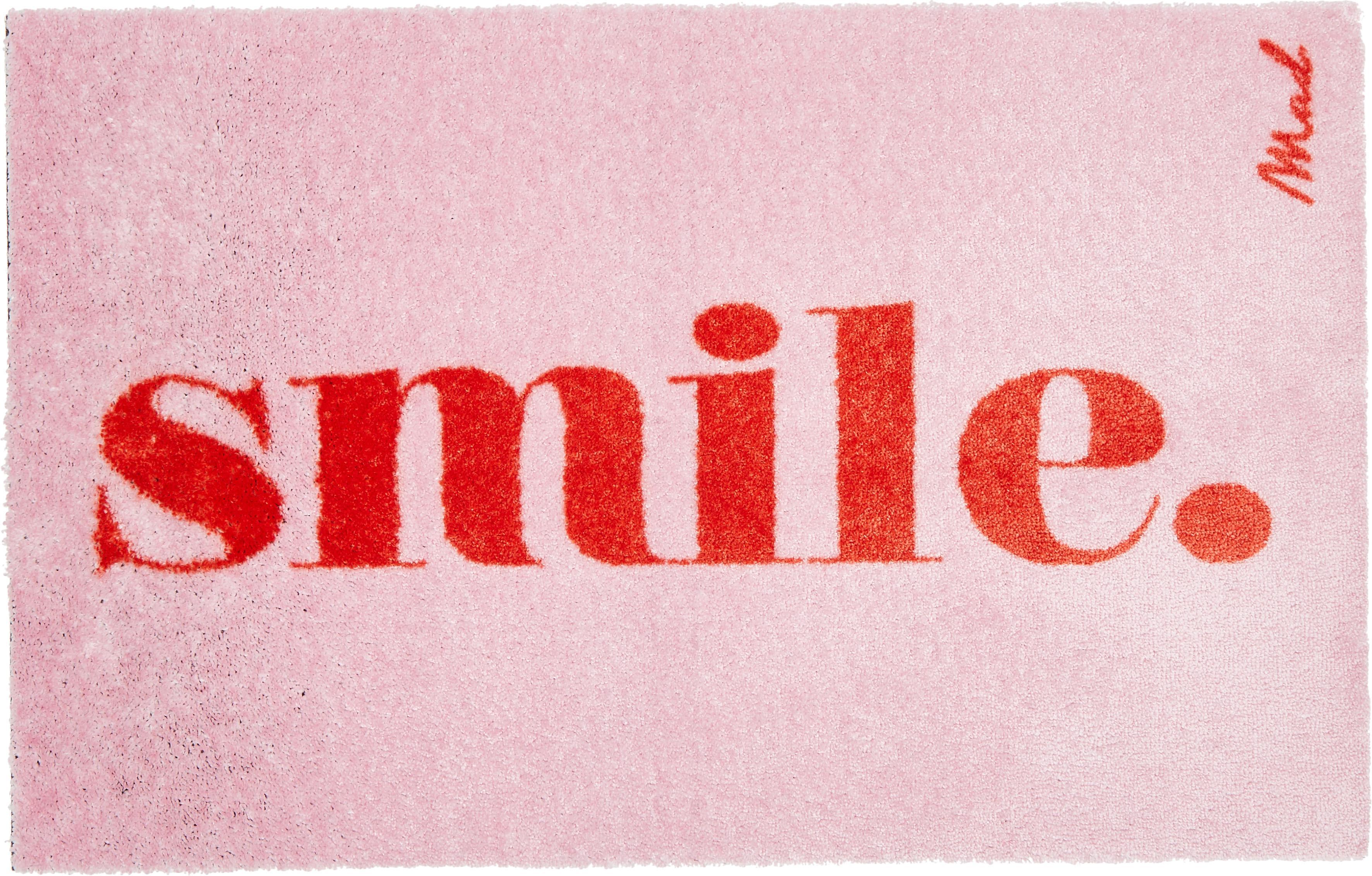 Leicht glänzende Polyamid-Fußmatte Perla, waschbar, Vorderseite: Polyamid, Rückseite: Kunststoff, Pink, 50 x 75 cm