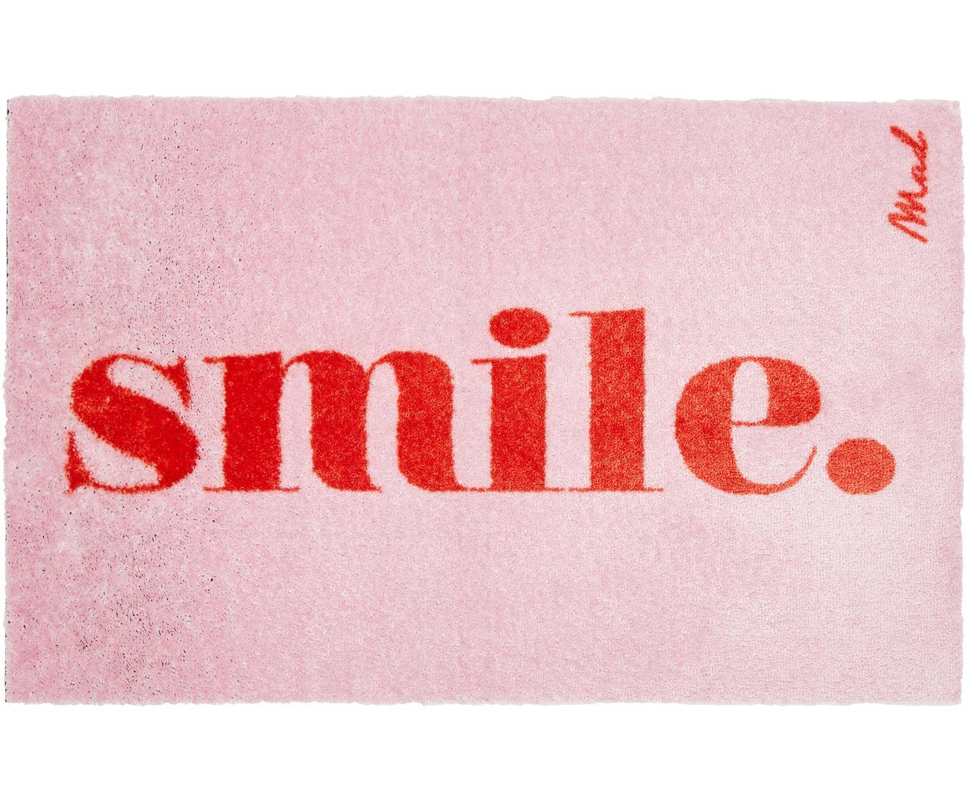 Leicht glänzende Polyamid-Fussmatte Perla, waschbar, Vorderseite: Polyamid, Rückseite: Kunststoff, Pink, 50 x 75 cm