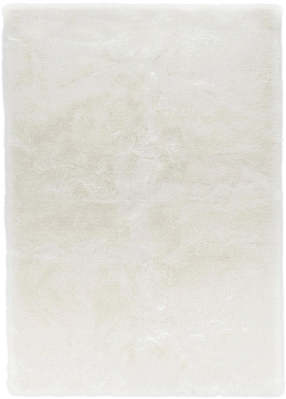 Pluizig hoogpolig vloerkleed Superior van imitatievacht, Bovenzijde: 95% acryl, 5% polyester, Onderzijde: kunstleer, Wit, B 120 x L 170 cm (maat S)