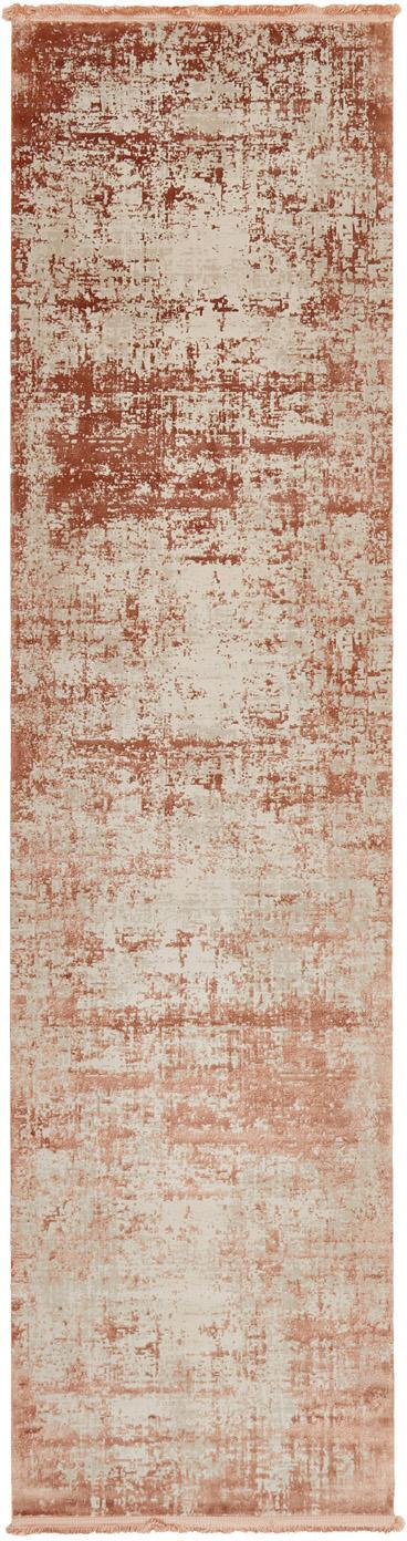 Alfombra con flecos Cordoba, estilo vintage, Parte superior: 70%acrílico, 30%viscosa, Reverso: algodón, Terracota, beige, An 80 x L 300 cm