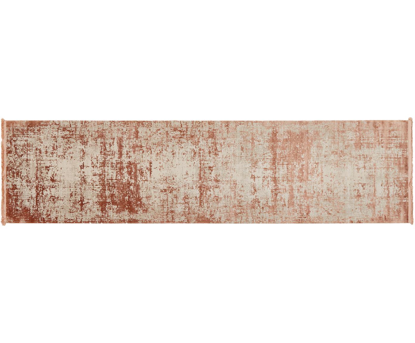 Passatoia vintage con frange effetto lucido Cordoba, Retro: cotone, Terracotta, beige, Larg. 80 x Lung. 300 cm