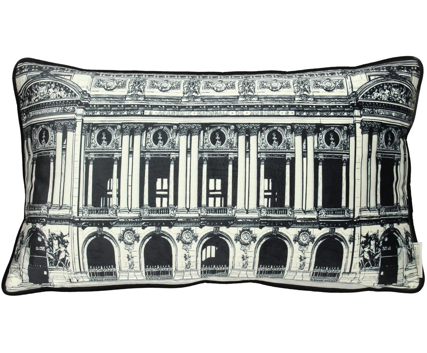 Cuscino in velluto con imbottitura Building, Velluto di poliestere, Bianco, nero, Larg. 35 x Lung. 60 cm
