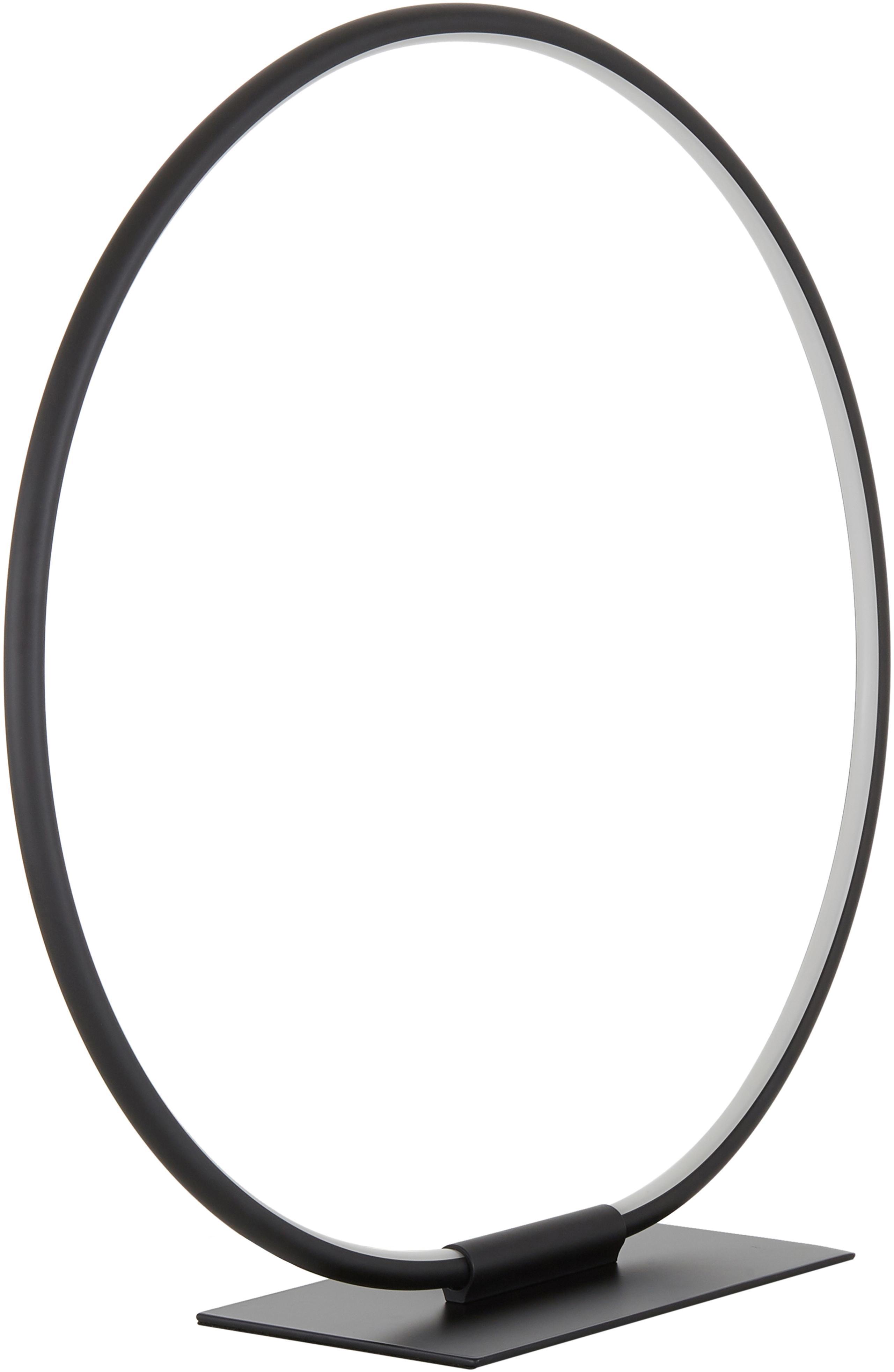 Lampada da tavolo a LED Jay, Paralume: Alluminio verniciato a po, Base della lampada: Alluminio verniciato a po, Baldacchino: nero opaco Paralume: nero opaco Cavo: nero, Ø 43 x Alt. 44 cm