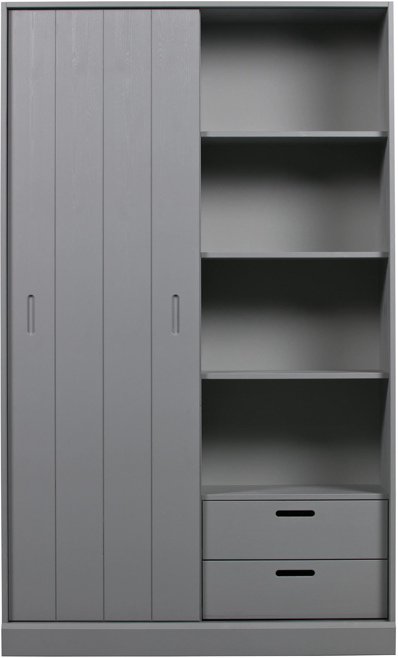 Libreria con anta scorrevole Move, Legno di pino, rivestito, Grigio, Larg. 120 x Alt. 200 cm