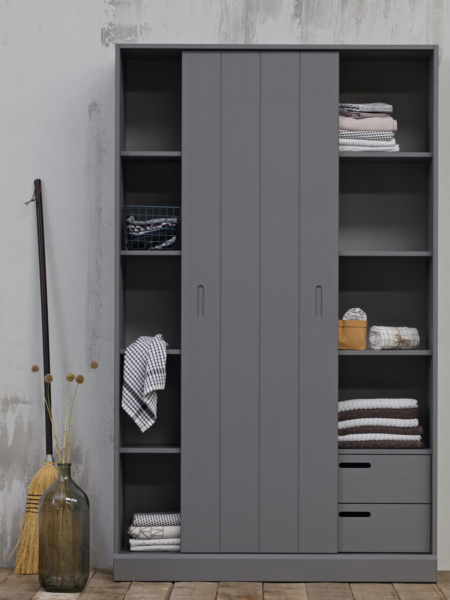 Schrank Move mit Schiebetür, Kiefernholz, lackiert, Grau, 120 x 200 cm