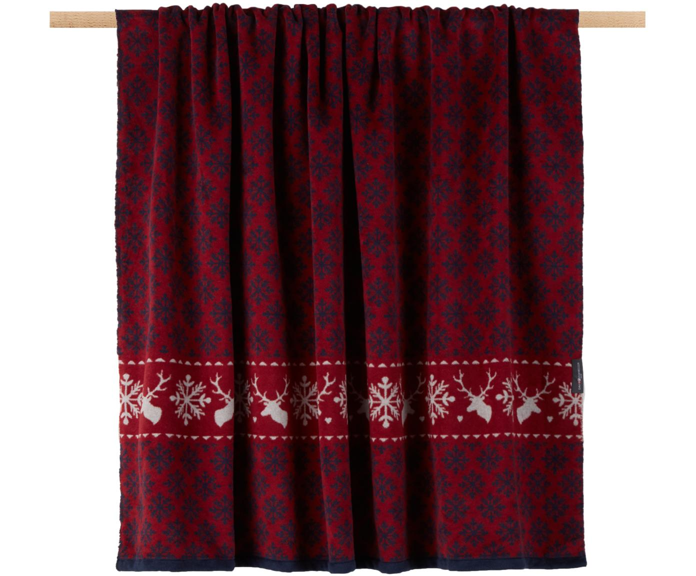 Manta doble cara de tela polar Montana Snow, 85%algodón, 8%viscosa, 7%poliacrílico, Rojo, azul, An 150 x L 200 cm
