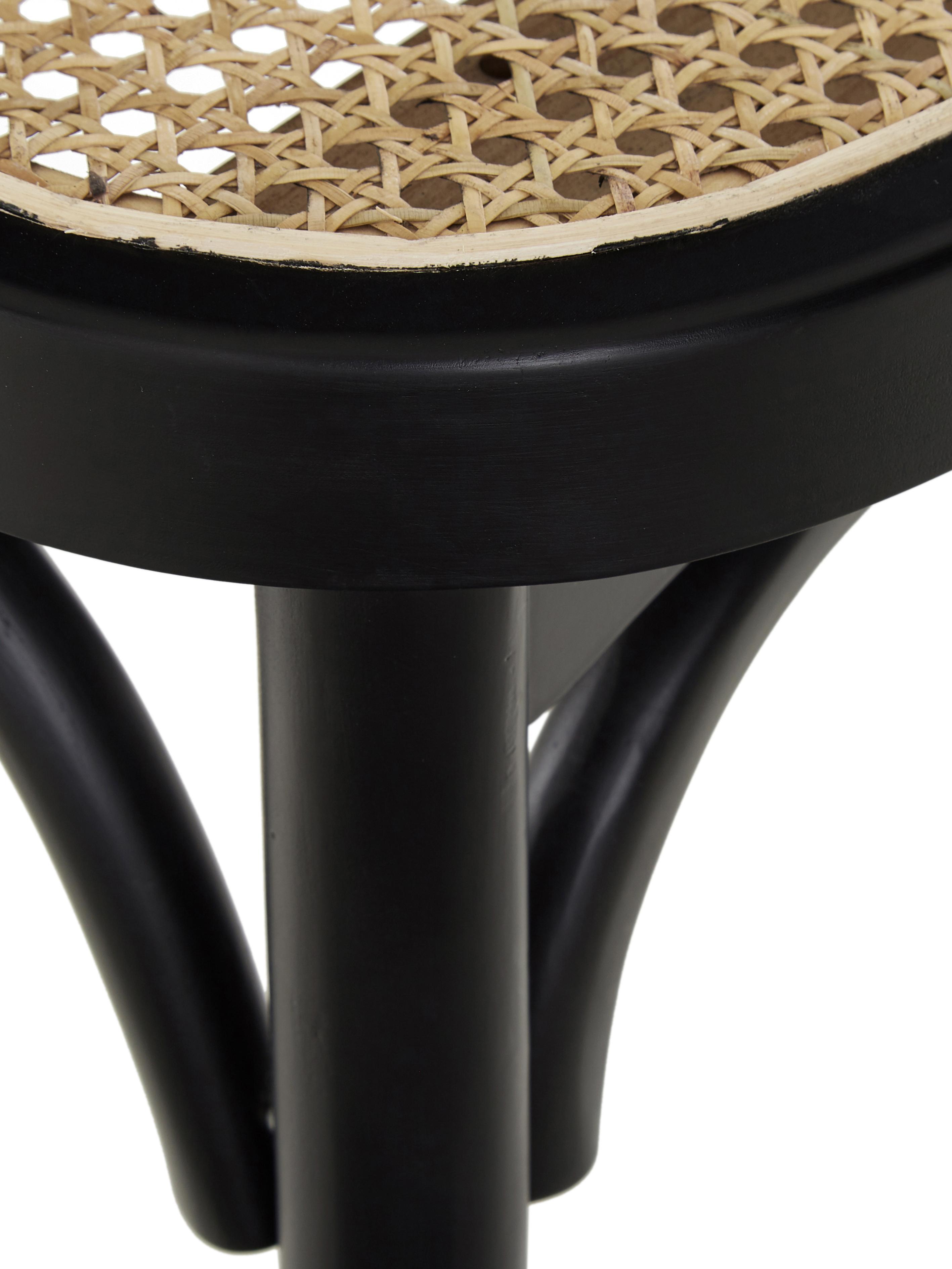 Sitzbank Franz mit Wiener Geflecht, Sitzfläche: Rattan, Gestell: Massives Birkenholz, lack, Sitzfläche: RattanGestell: Birkenholz, schwarz lackiert, 110 x 46 cm