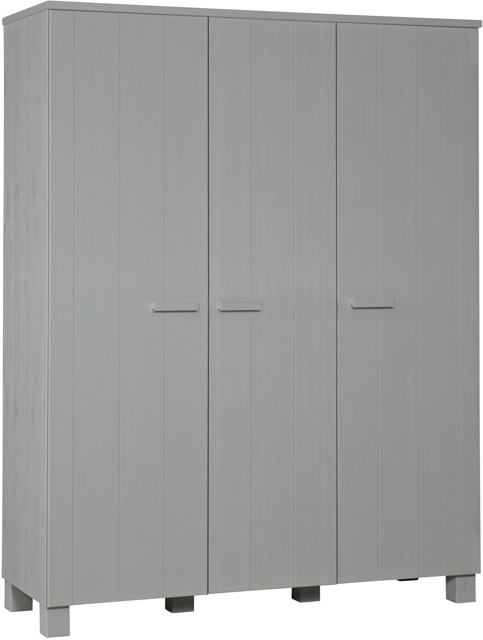 Armadio Dennis, Legno di pino, spazzolato e verniciato, Grigio cemento, Larg. 158 x Alt. 202 cm