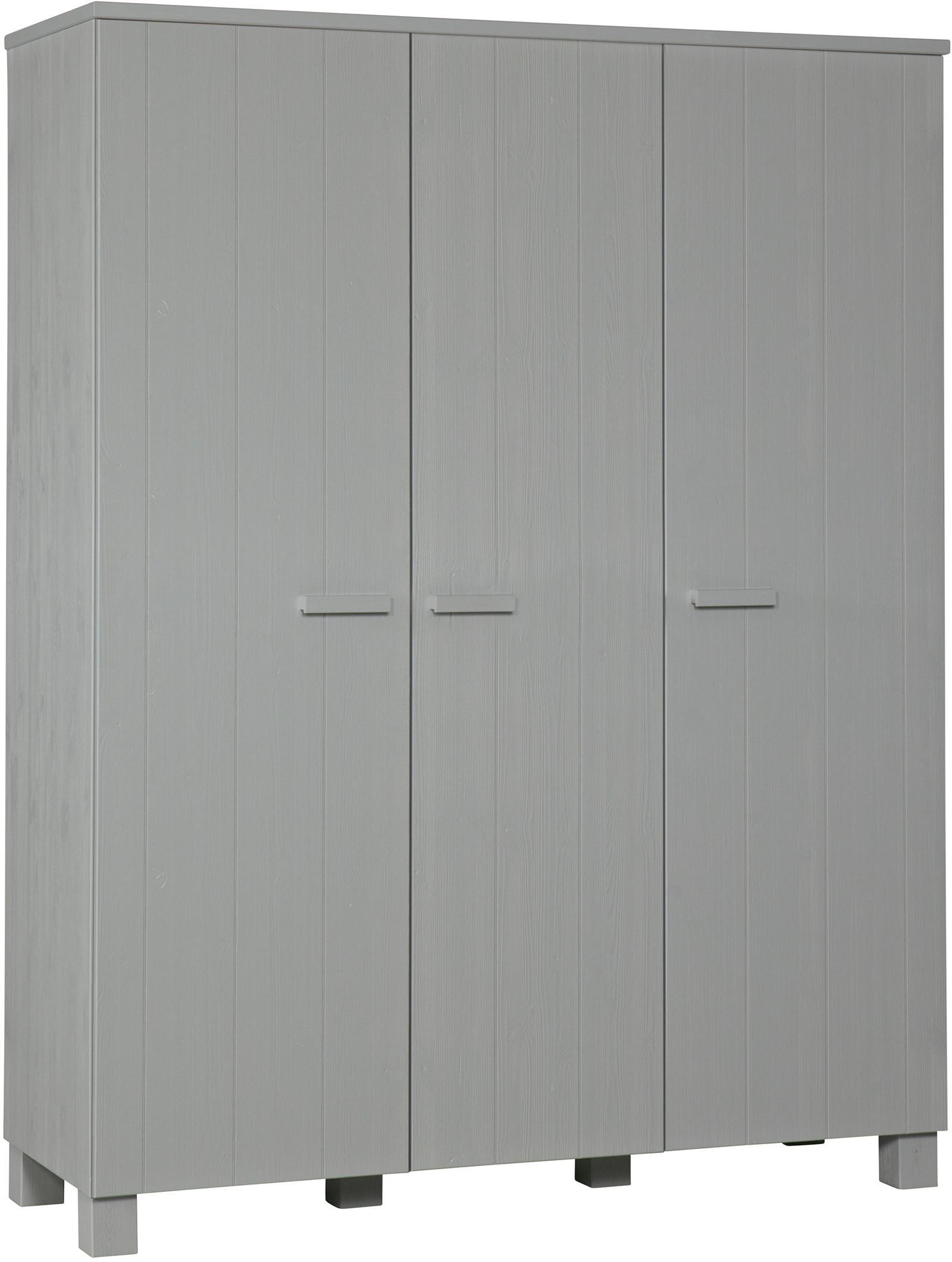 Kleiderschrank Dennis aus Kiefernholz, Kiefernholz, gebürstet und lackiert, Betongrau, 158 x 202 cm
