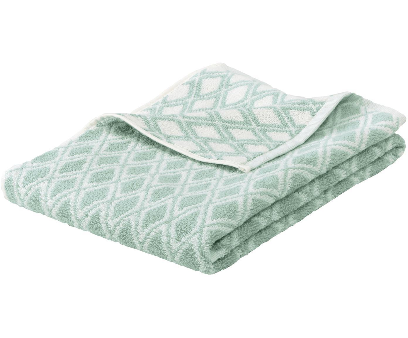 Asciugamano reversibile con motivo grafico Ava, Verde menta, bianco crema, Telo bagno
