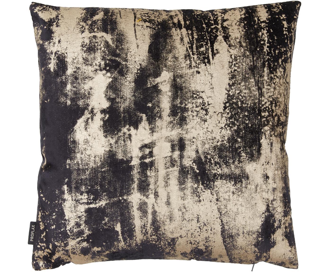 Funda de cojín de terciopelo Shiny, estilo vintage, Terciopelo de poliéster, Gris grafito, An 40 x L 40 cm
