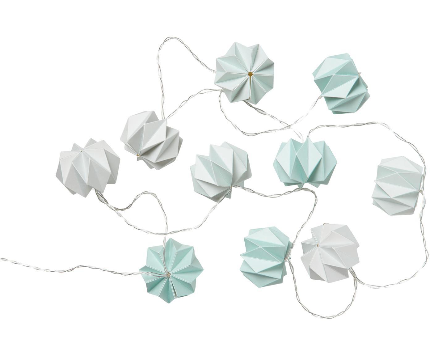 Lichterkette Origami, 200 cm, Papier, Blautöne, L 200 cm