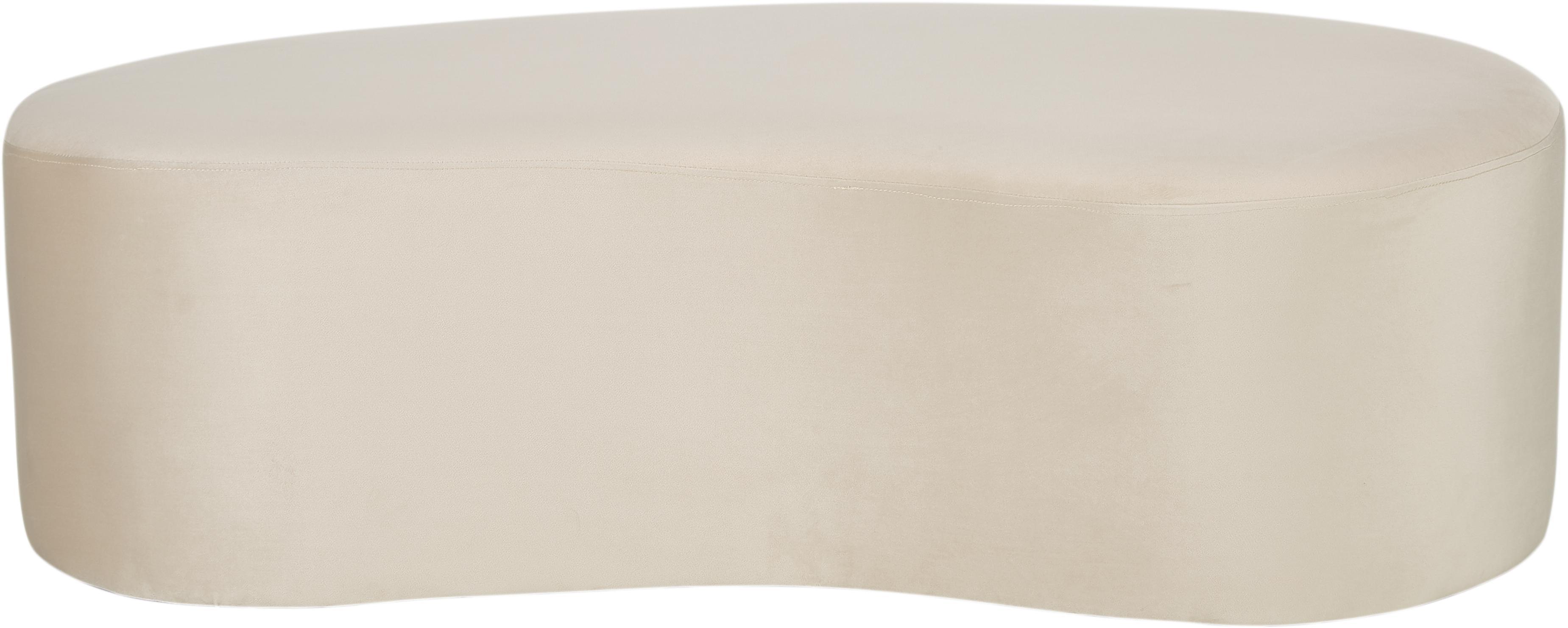 Samt-Pouf Horta, Polyestersamt, Gebrochenes Weiss, 120 x 36 cm