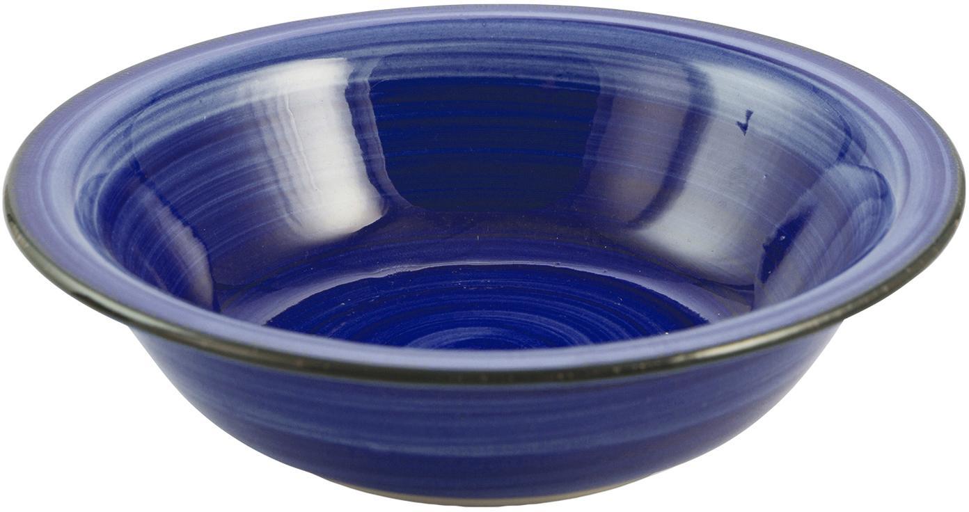 Handbemalte Suppenteller Baita in Blau, 6 Stück, Steingut (Dolomitstein), handbemalt, Blau, Ø 22 cm