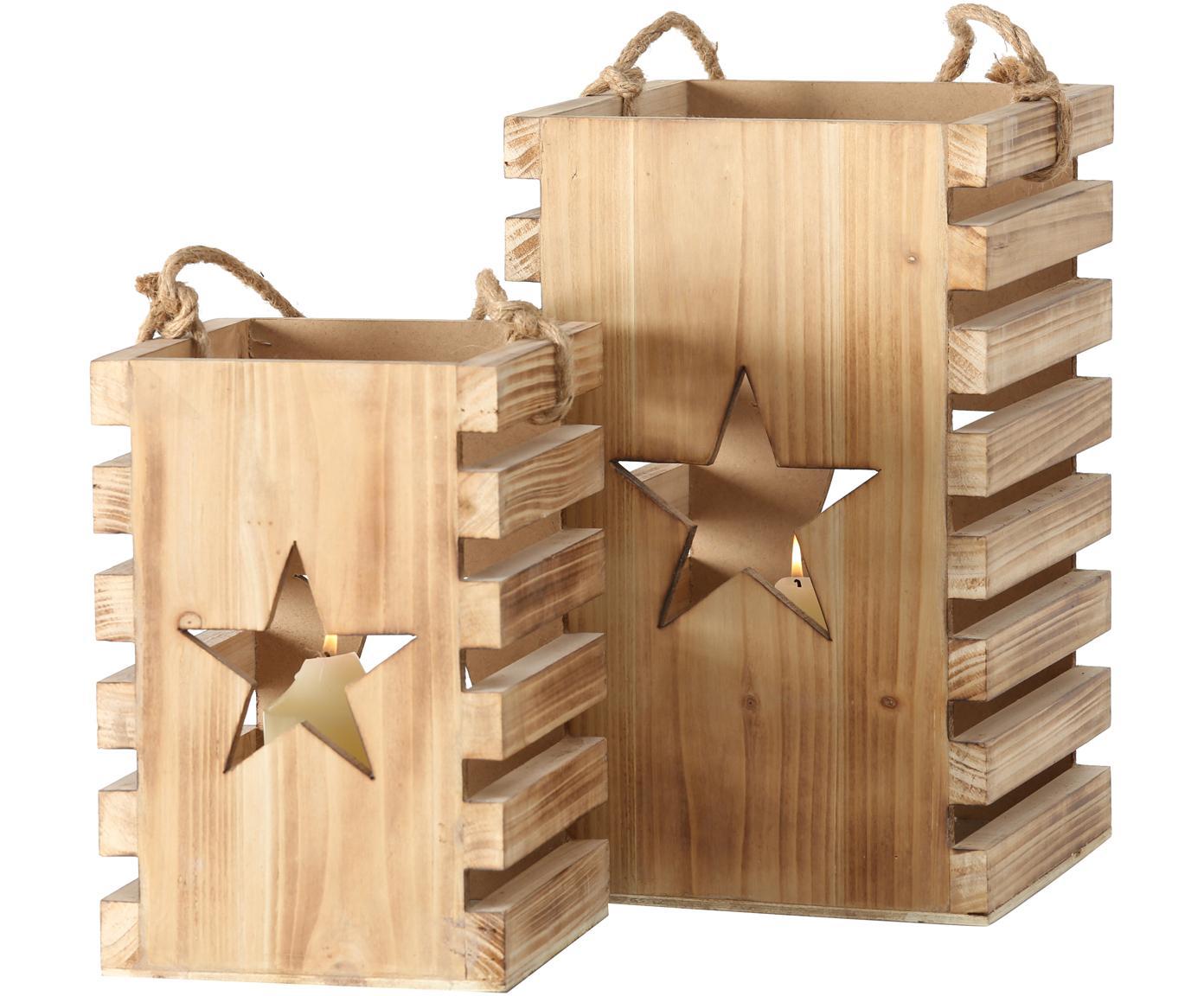 Windlichtenset Etoile, 2-delig, Sparrenhout, Dennenhoutkleurig, Verschillende formaten