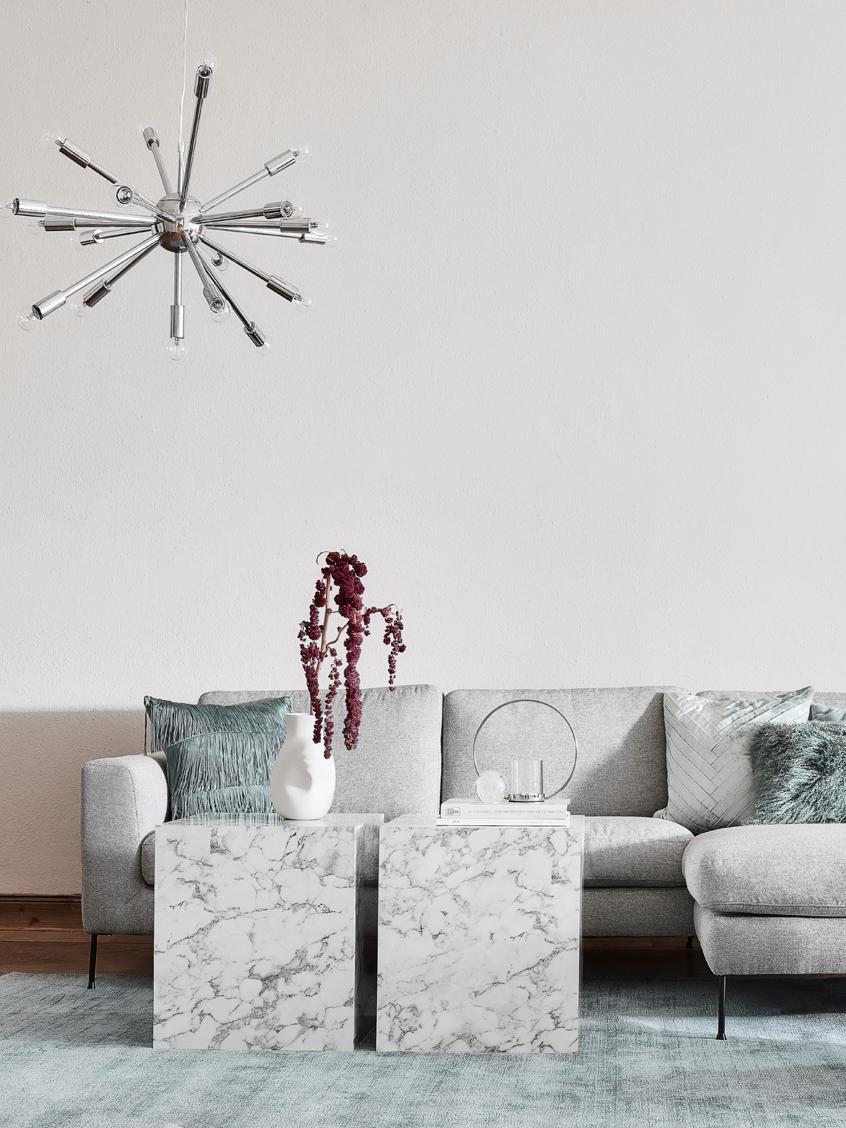 Bijzettafel Lesley in marmerlook, MDF, bekleed met melaminefolie, Gemarmerd wit, 45 x 50 cm