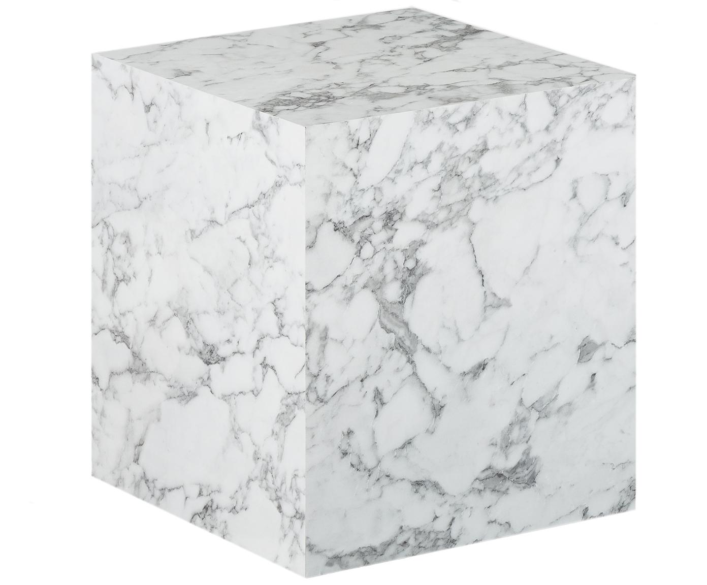 Tavolino quadrato effetto marmo Lesley, Pannello di fibra a media densità (MDF) rivestito con foglio di melamina, Bianco marmorizzato, Larg. 45 x Alt. 50 cm