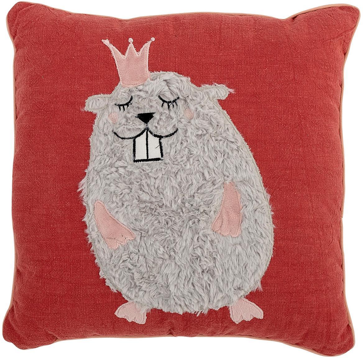 Cuscino reversibile Hamster, Rivestimento: 70% cotone, 30% poliester, Rosso, grigio, salmone, Larg. 40 x Lung. 40 cm