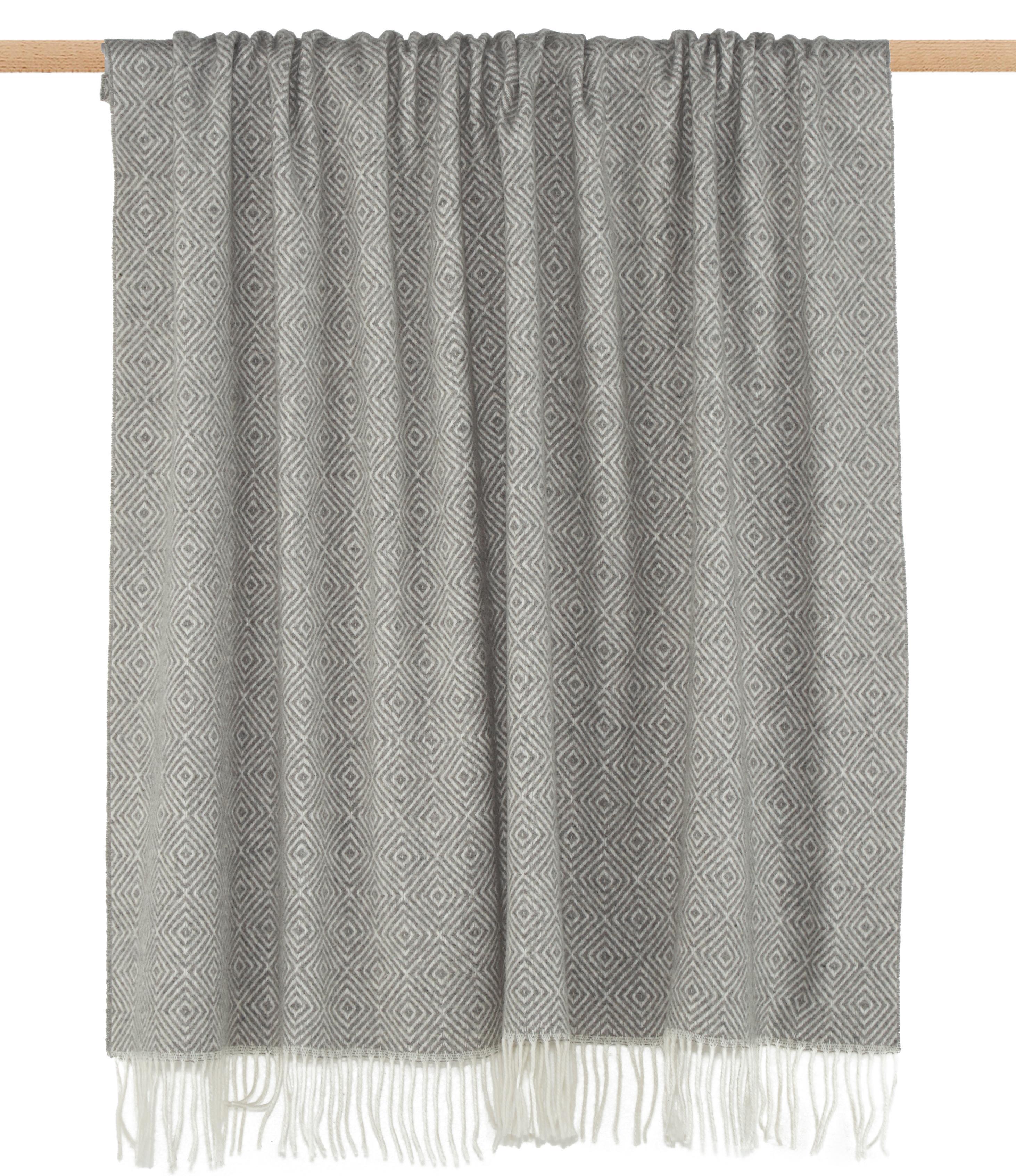 Plaid in lana con motivo grafico Alison, 80% lana, 20% acrilico, Bianco latte, grigio chiaro, Larg. 140 x Lung. 200 cm