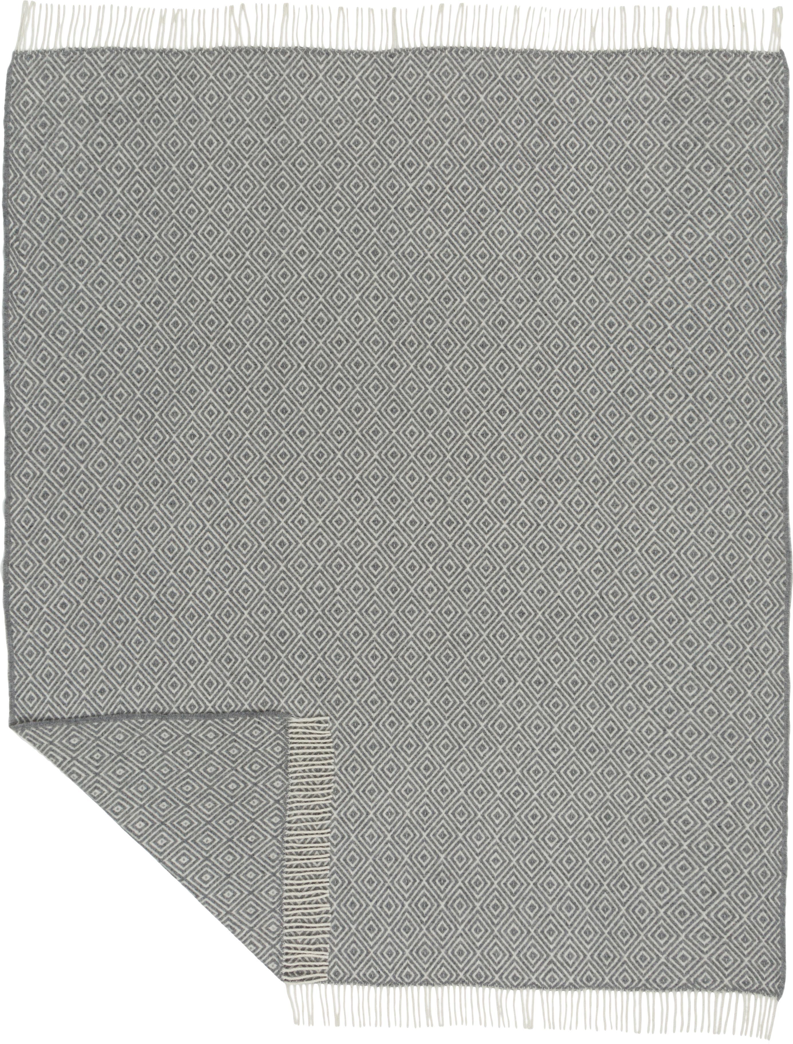 Woll-Plaid Alison mit feinem grafischem Muster, 70% Merinowolle, 30% Polyester, Gebrochenes Weiss, Hellgrau, 140 x 200 cm