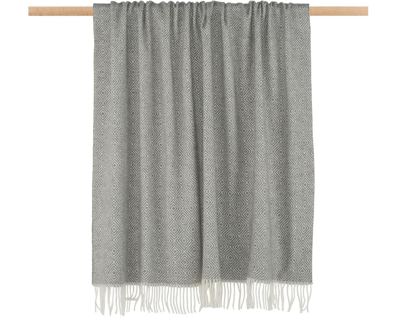 Woll-Plaid Alison mit feinem grafischem Muster, 80% Wolle, 20% Acryl, Gebrochenes Weiß, Hellgrau, 140 x 200 cm