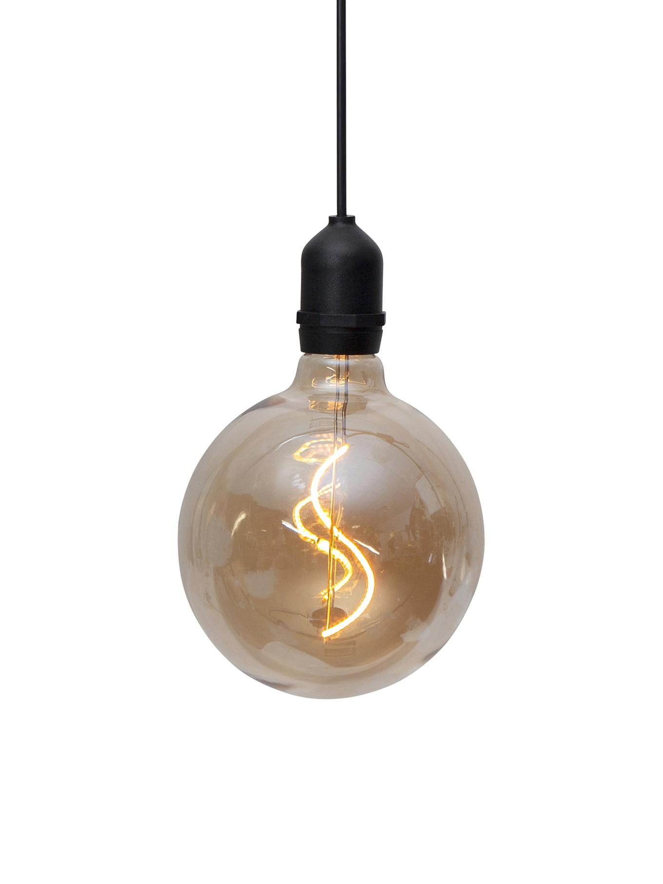 LED Außenleuchte Bowl, Lampenschirm: Glas, Bernsteinfarben, transparent, Schwarz, Ø 13 x H 18 cm