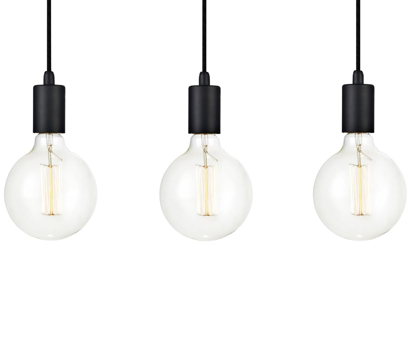Lámpara de techo Sky, Cable: cubierto en tela, Negro, An 68 x Al 12 cm