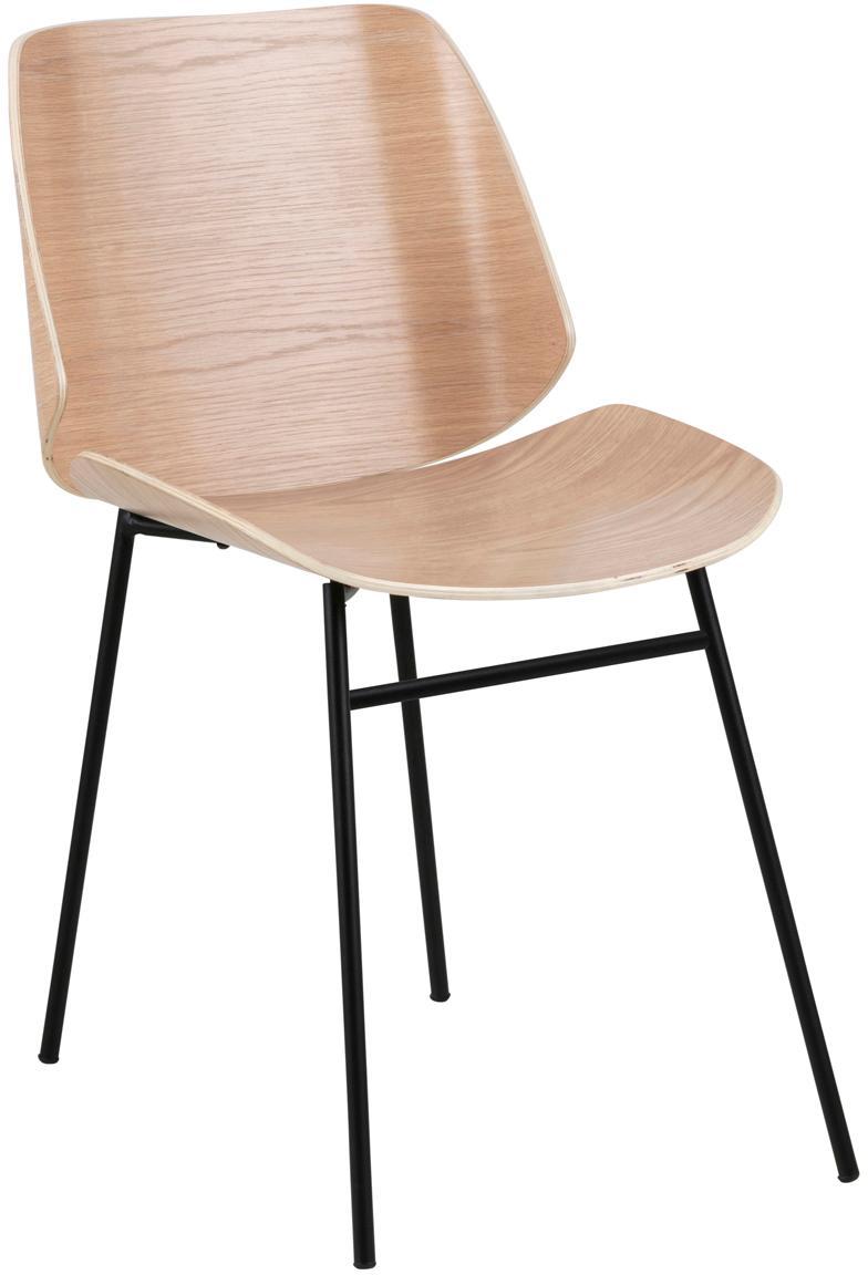 Houten stoelen Aks, 2 stuks, Zitvlak: gelakt eikenhoutfineer, Poten: gepoedercoat metaal, Eikenhoutkleurig, zwart, B 59 x D 47 cm