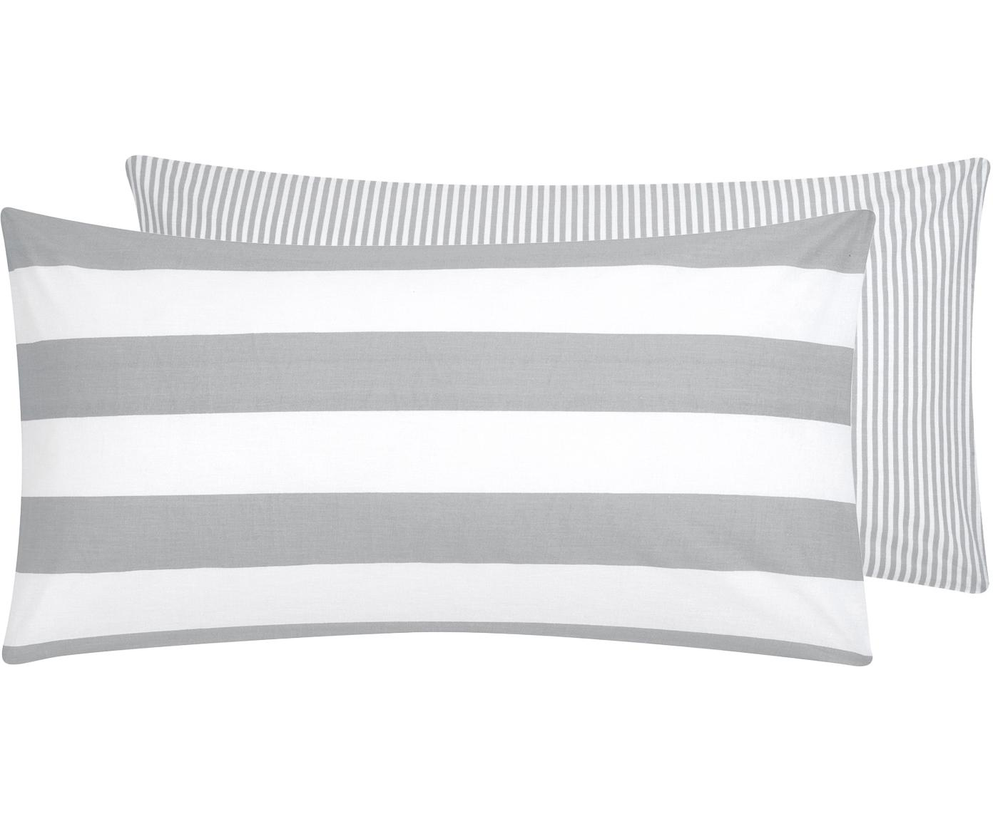 Funda de almohada de tejido renforcé Lorena, caras distintas, Gris claro, crema, An 45 x L 85 cm