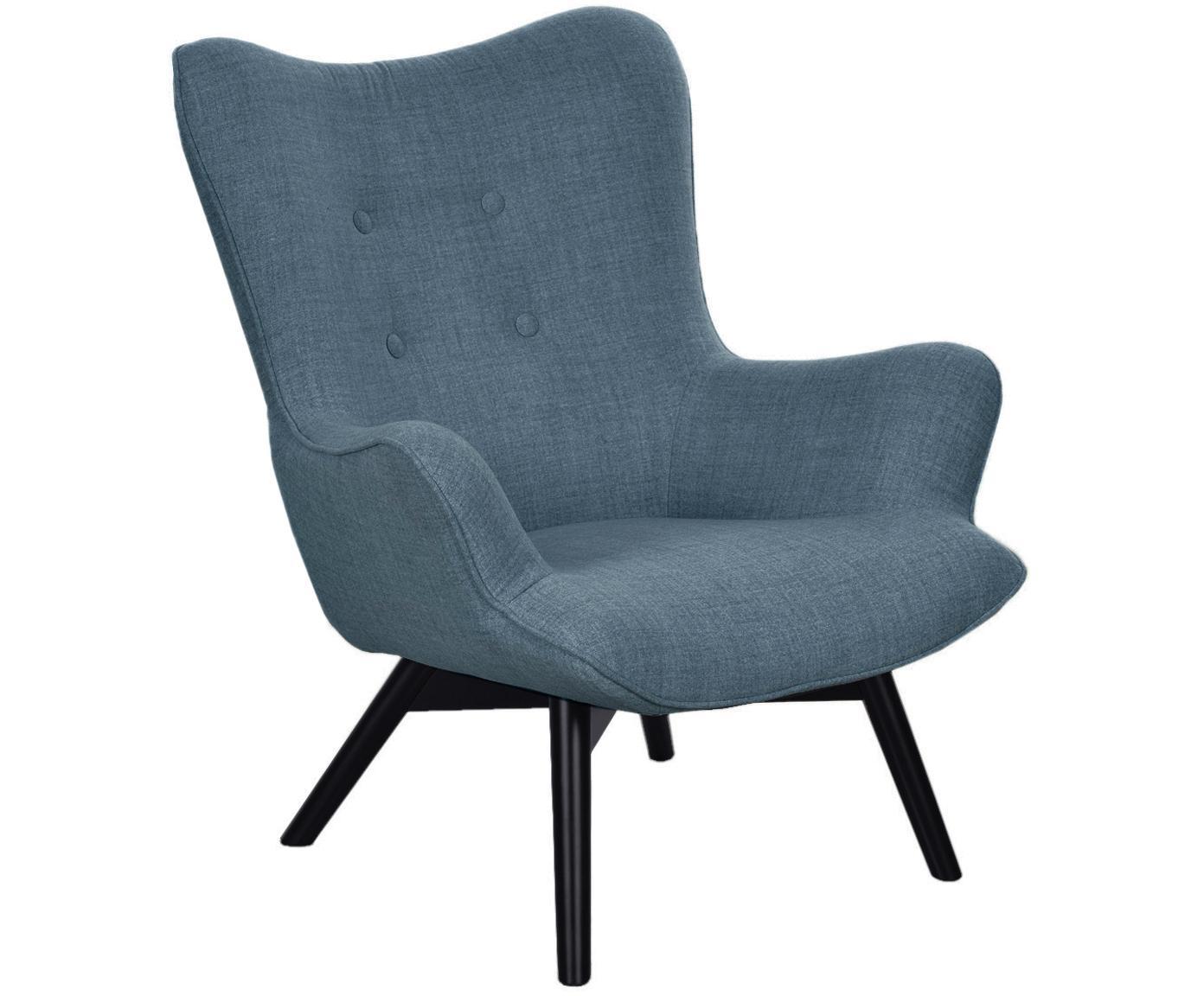 Fauteuil Twist, Frame: Hout, Poten: Beukenhout, Hoes: Blauw. Poten: Zwart, 82 x 96 cm
