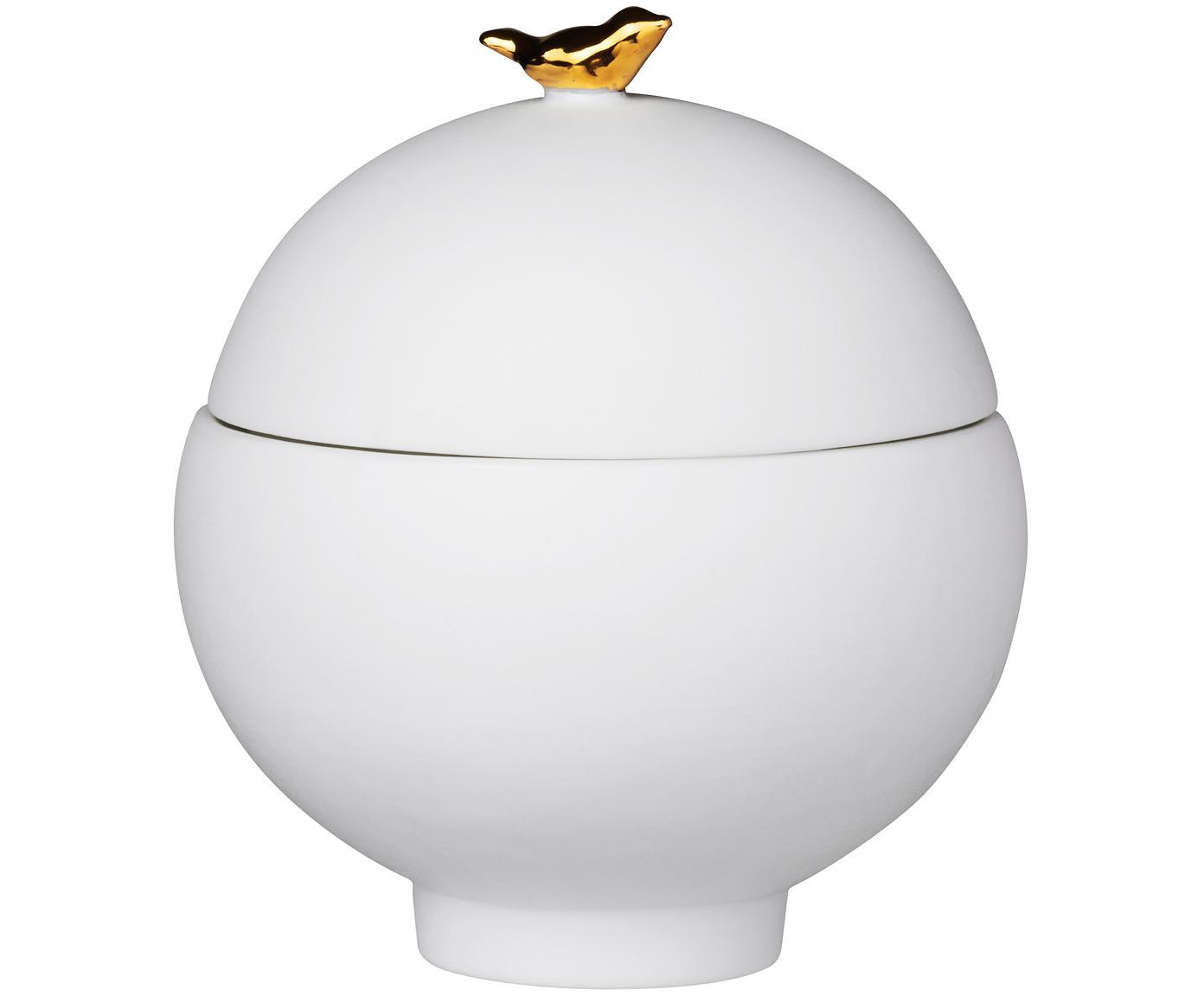 Bote decorativo Vogel, Porcelana, Blanco, Ø 7 x Al 8 cm
