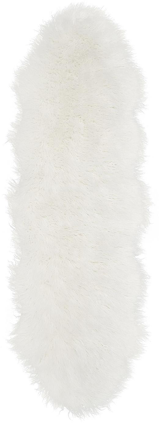 Vloerkleed van kunstvacht Morten, gekruld, Bovenzijde: 67% acryl, 33% polyester, Onderzijde: polyester, Crèmekleurig, 60 x 180 cm