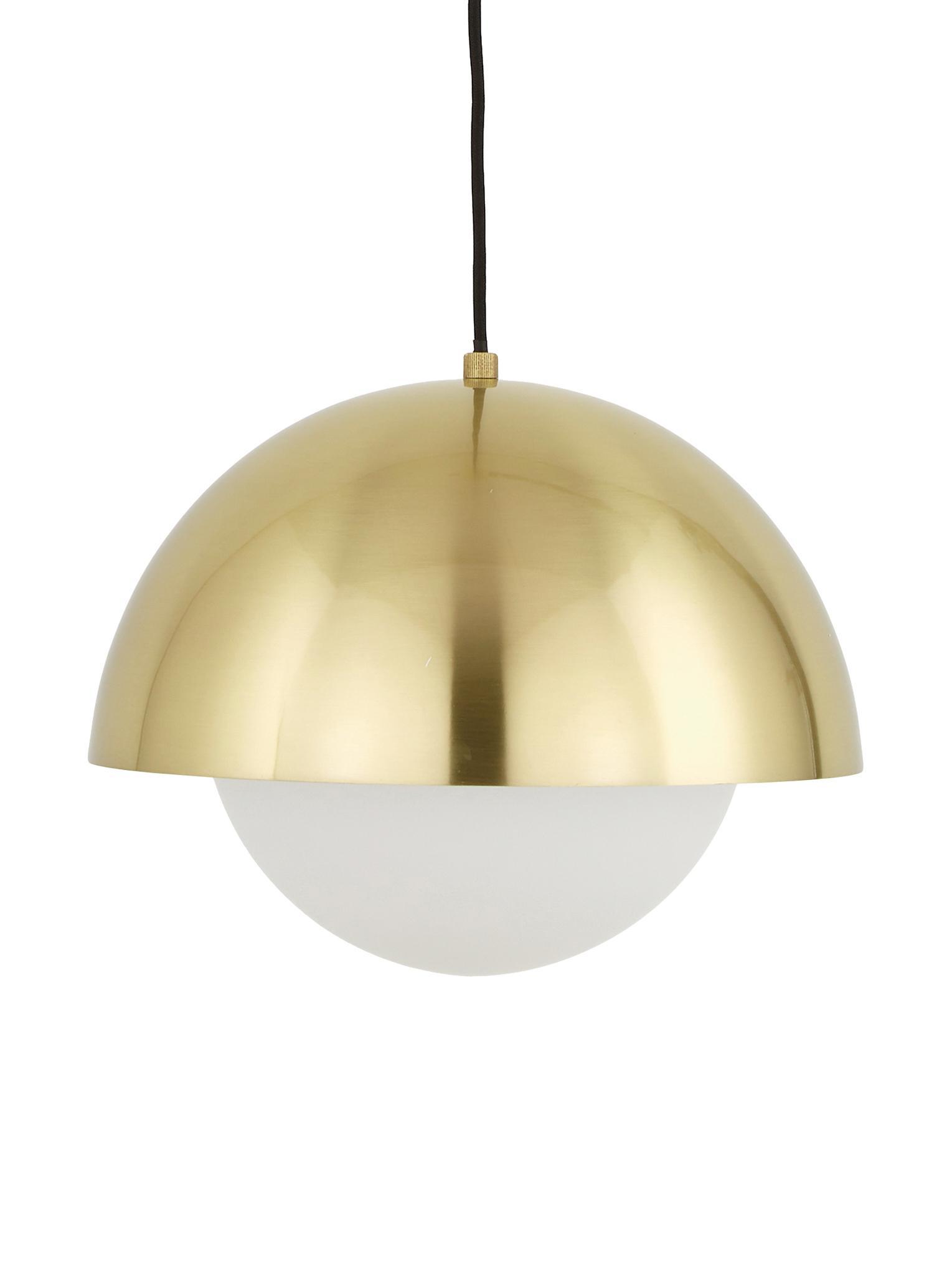Pendelleuchte Lucille, Baldachin: Metall, gebürstet, Lampenschirm: Glas, Messing, Weiß, Ø 35 x H 30 cm
