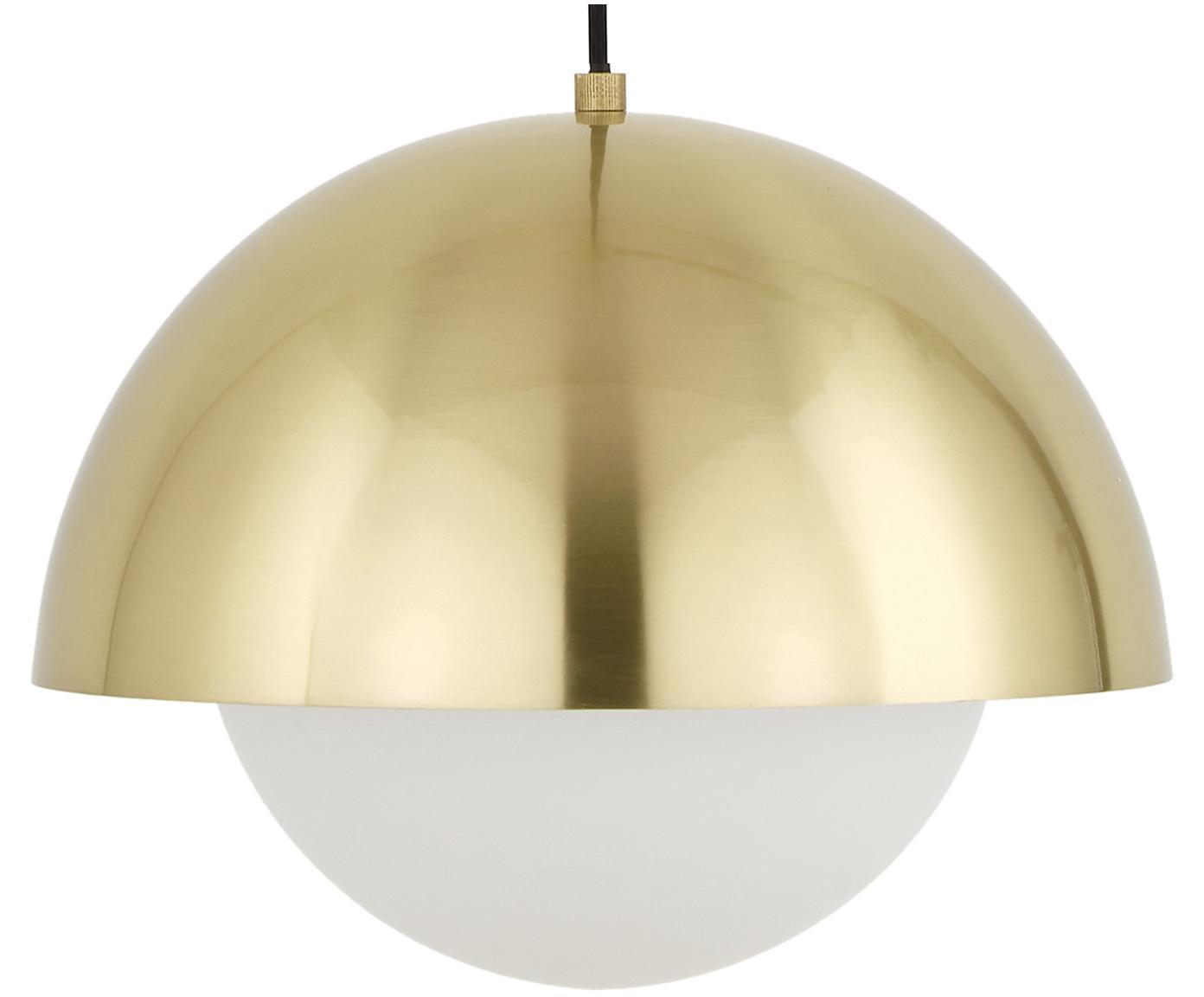 Pendelleuchte Lucille, Baldachin: Metall, gebürstet, Lampenschirm: Glas, Messing, Weiss, Ø 35 x H 30 cm