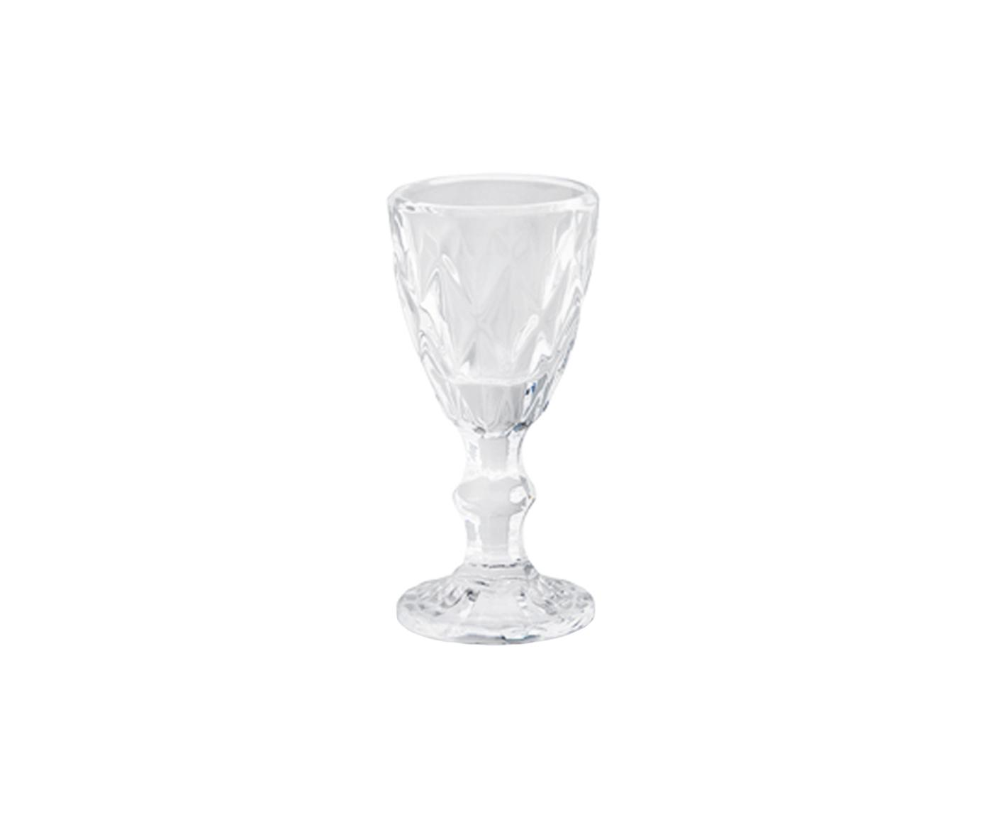 Schnapsgläser Prisma mit Kristallrelief, 6 Stück, Glas, Transparent, Ø 5 x H 11 cm