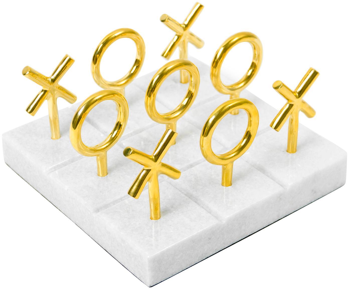 Gioco da tavolo di design in marmo Tic Tac Toe, Elementi del gioco: ottone<br>Presa di corrente: bianco, Larg. 17 x Alt. 10 cm